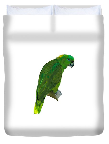 Green Parrot On White  Duvet Cover