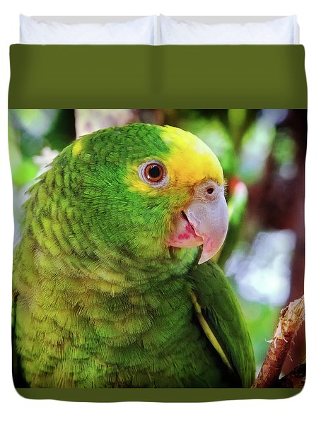 Green Parrot Duvet Cover