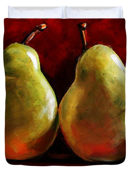 Green Pears On Red Duvet Cover by Toni Grote