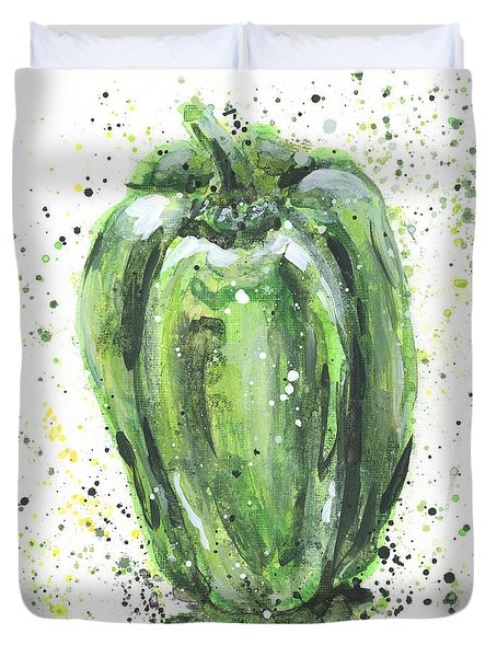 Green Pepper Duvet Cover by Arleana Holtzmann