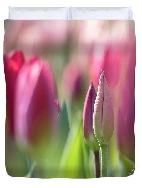 Green Pink Wall Art - Spring Tulips Keukenhof Flower Garden Photography Art Print Duvet Cover