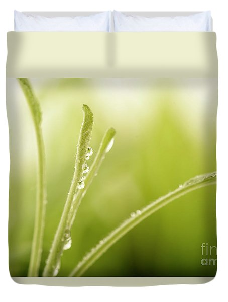 Green Plant With Water Drops Duvet Cover