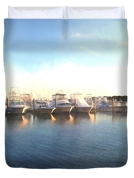 Green Pond Harbor Duvet Cover