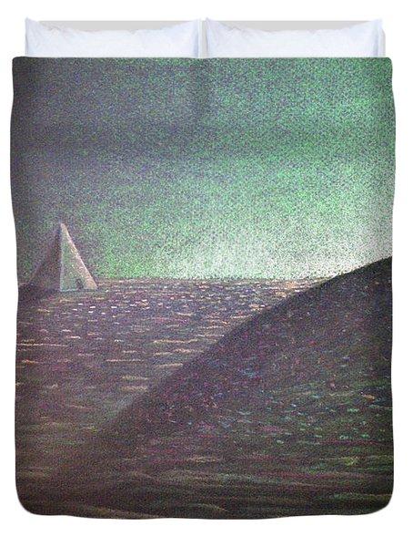 Duvet Cover featuring the drawing Green Pyramid B by Mayhem Mediums