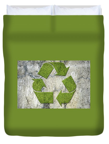 Green Recycling Sign On A Concrete Wall Duvet Cover by GoodMood Art