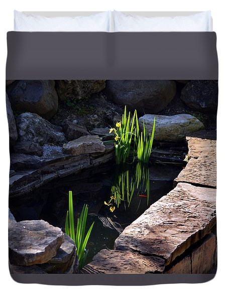 Duvet Cover featuring the photograph Green Reflections by Kathleen Stephens