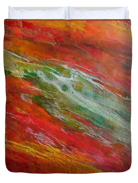 Duvet Cover featuring the painting Green River by Dragica  Micki Fortuna