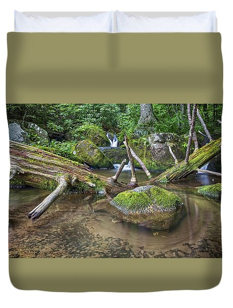 Green Rock Pool Duvet Cover