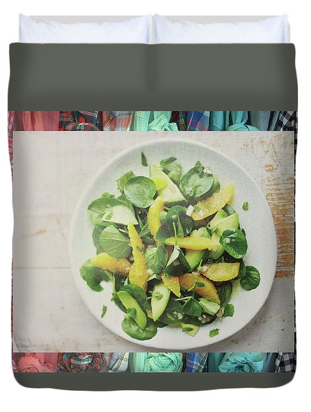 Duvet Cover featuring the photograph Green Salad Kitchen Chef Cuisine Christmas Holidays Birthday Festivals Mom Dad Sister Friends by Navin Joshi