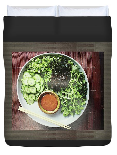 Duvet Cover featuring the photograph Green Salad Presentation Chef Cuisine Kitchen Lifestyle Christmas Holidays Birthday Festivals Mom  by Navin Joshi