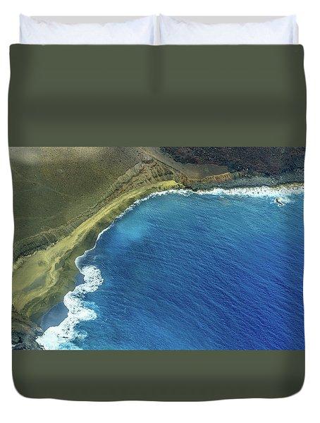 Green Sand Beach Aerial Duvet Cover