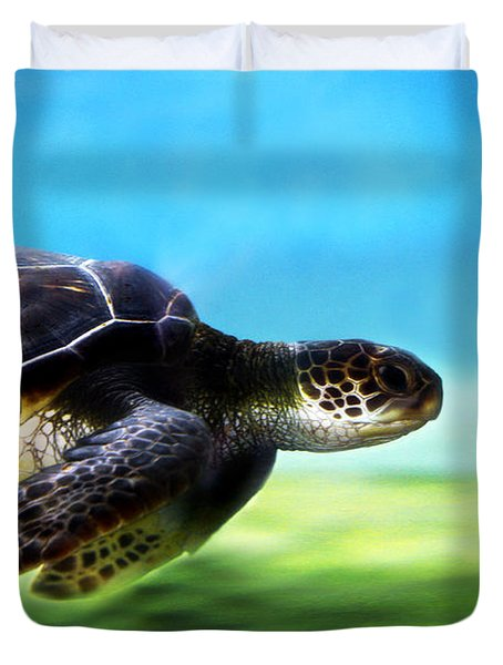 Green Sea Turtle 2 Duvet Cover by Marilyn Hunt