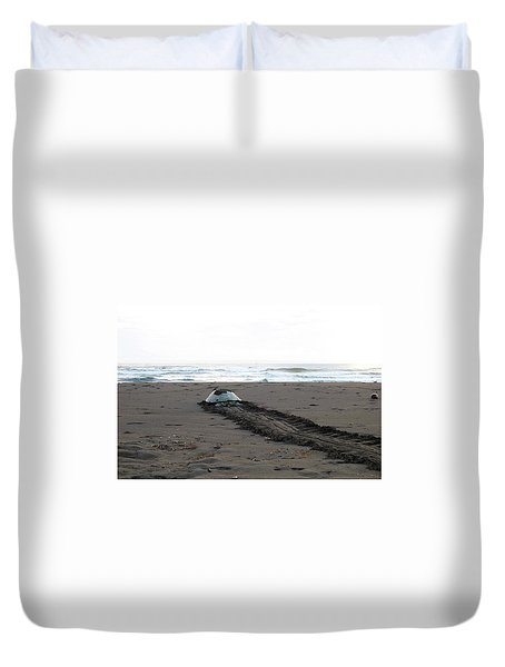 Green Sea Turtle Returning To Sea Duvet Cover