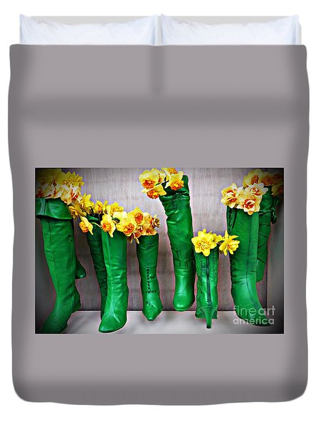 Green Shoes For Yellow Spring Flowers Duvet Cover