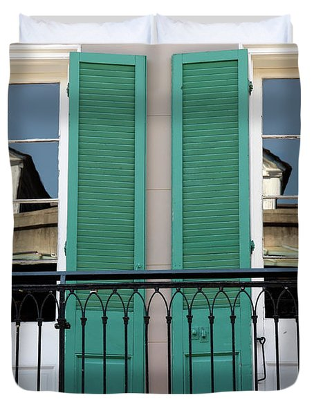 Duvet Cover featuring the photograph Green Shutters Reflections by KG Thienemann