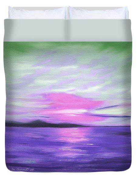 Green Skies And Purple Seas Sunset Duvet Cover