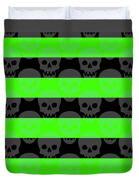 Green Skull Stripes Duvet Cover