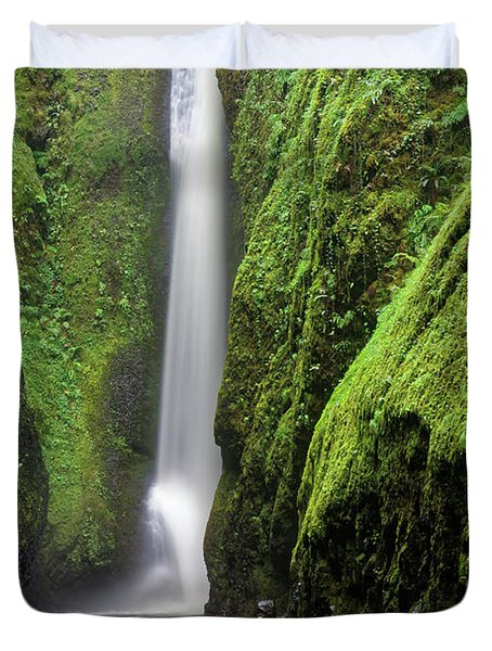 Duvet Cover featuring the photograph Green Slot Canyon by Jonathan Davison