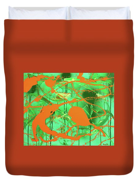 Duvet Cover featuring the painting Green Spill by Thomas Blood
