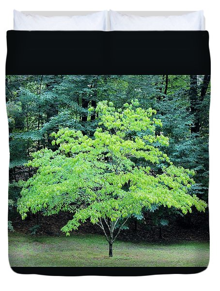 Green Standout Tree Duvet Cover