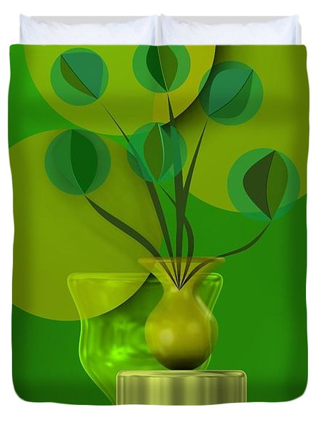 Green Still Life With Abstract Flowers, Duvet Cover