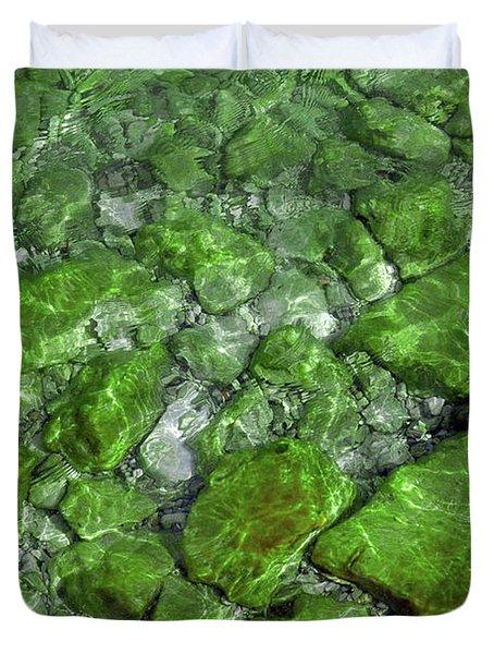 Duvet Cover featuring the photograph Green Stone Waters by LeeAnn McLaneGoetz McLaneGoetzStudioLLCcom