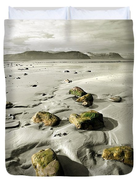 Green Stones On A North Wales Beach Duvet Cover by Mal Bray