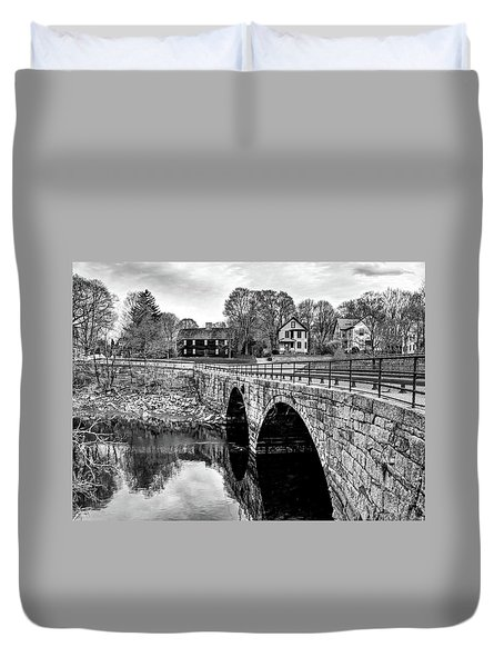 Duvet Cover featuring the photograph Green Street Bridge In Black And White by Wayne Marshall Chase