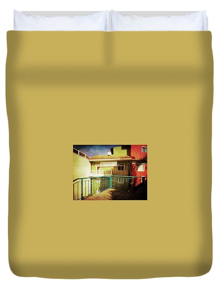 Duvet Cover featuring the photograph Green Street Corner, Alcala by Anne Kotan