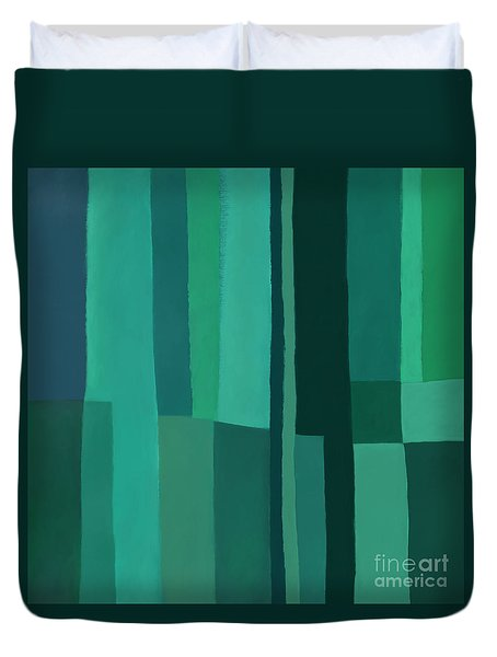 Duvet Cover featuring the digital art Green Stripes 1 by Elena Nosyreva