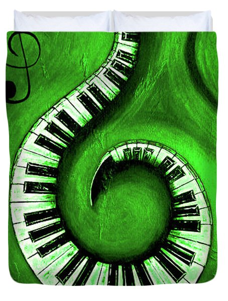 Green - Swirling Piano Keys - Music In Motion  Duvet Cover