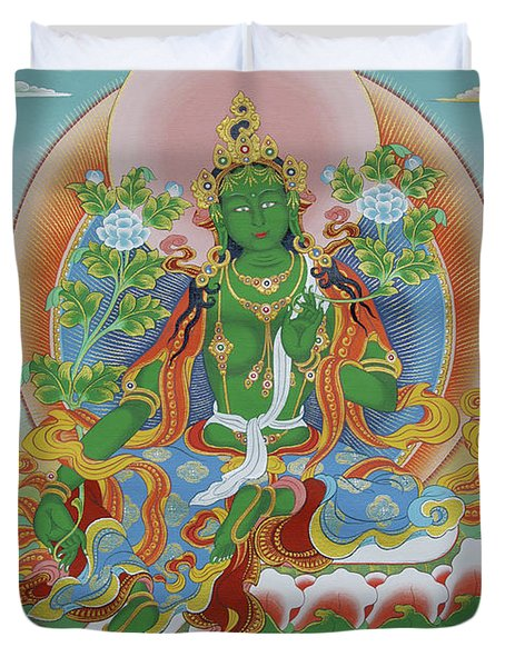 Green Tara With Retinue Duvet Cover