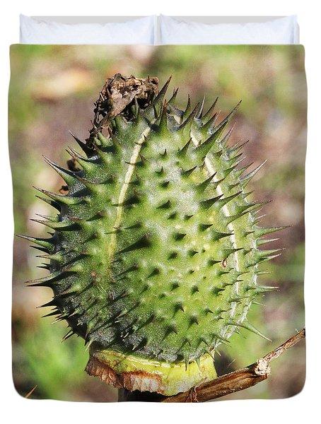 Green Thorn Apple Duvet Cover