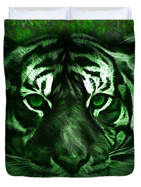 Duvet Cover featuring the painting Green Tiger by Michael Cleere