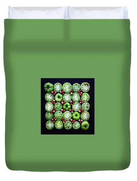 Green Tomato Slice Pattern Duvet Cover
