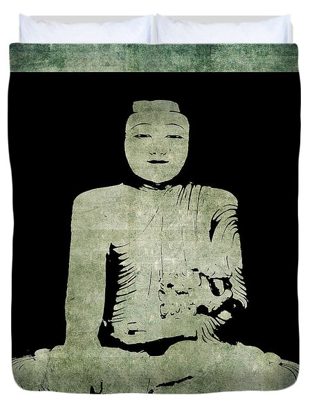 Duvet Cover featuring the painting Green Tranquil Buddha by Kandy Hurley