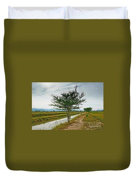 Green Tree Duvet Cover by Arik S Mintorogo