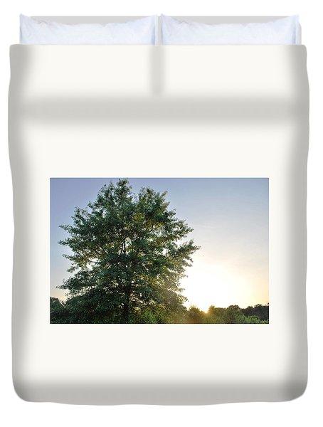 Green Tree Bright Sunshine Background Duvet Cover