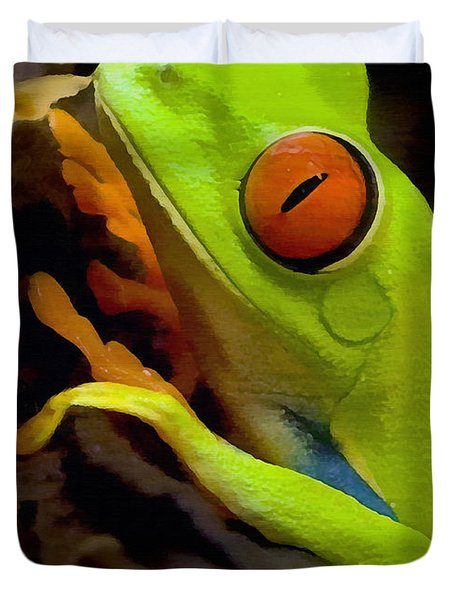 Green Tree Frog Duvet Cover