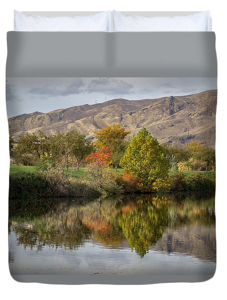 Green Tree Pond Reflection Duvet Cover
