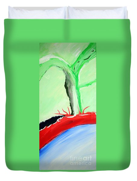 Green Tree Red Ridge Duvet Cover