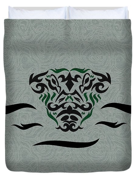 Green Tribal Gator Duvet Cover