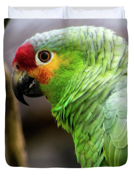 Green Tropical Parrot, Side View. Duvet Cover
