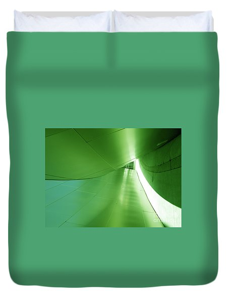 Duvet Cover featuring the photograph Green Tunnel. Los Angeles Series. by Ausra Huntington nee Paulauskaite