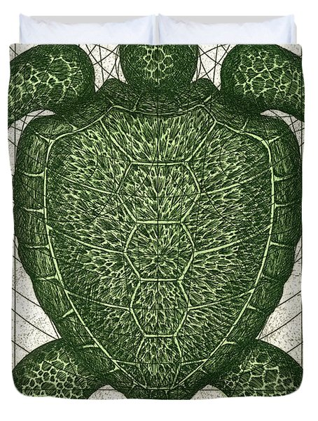 Green Turtle Duvet Cover by Charles Harden