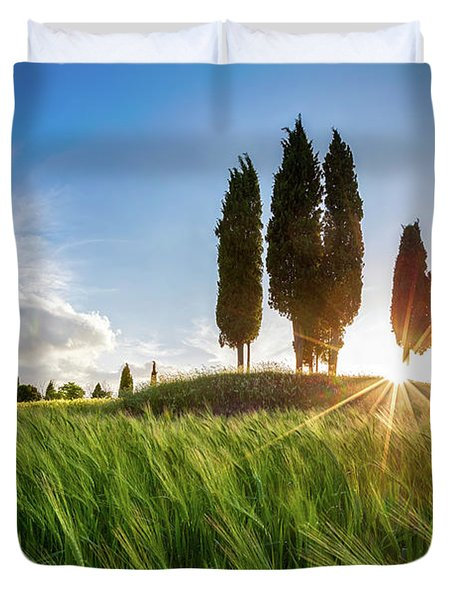 Green Tuscany Duvet Cover by Evgeni Dinev
