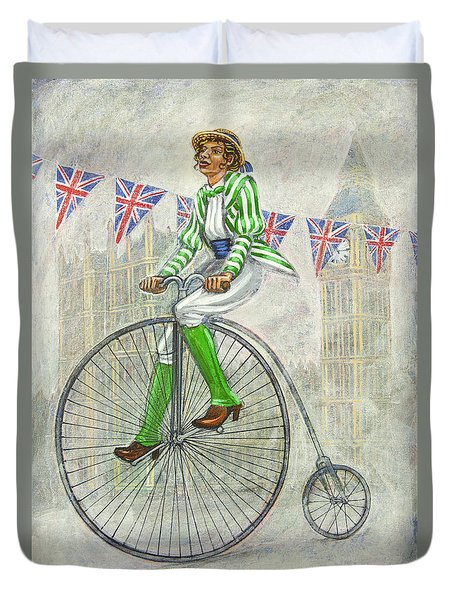 Duvet Cover featuring the painting Tweed Run Lady In Green Pedalling Past The Houses Of Parliament by Mark Howard Jones