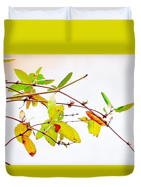 Green Twigs And Leaves Duvet Cover by Craig Walters