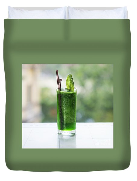 Green Vegetable Detox Juice Duvet Cover