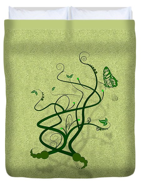 Green Vine And Butterfly Duvet Cover by Svetlana Sewell